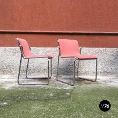 Pink and chromed steel chairs 1970s - 1936048