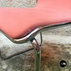 Pink and chromed steel chairs 1970s - 1936083