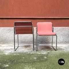 Pink and chromed steel chairs 1970s - 1936092