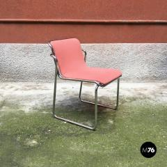 Pink and chromed steel chairs 1970s - 1936093