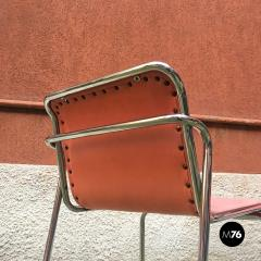 Pink and chromed steel chairs 1970s - 1936102