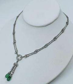 Platinum Deco Diamond Emerald necklace - 1775584
