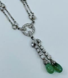 Platinum Deco Diamond Emerald necklace - 1775585