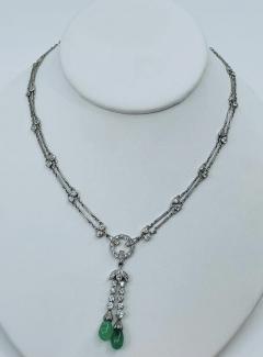 Platinum Deco Diamond Emerald necklace - 1775586