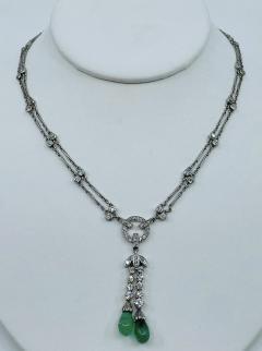 Platinum Deco Diamond Emerald necklace - 1775587