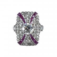 Platinum Deco Diamond Ring - 1757107