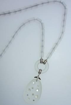 Platinum Diamond Rock Crystal moonstone and Onyx Necklace circa 1920 - 1141511