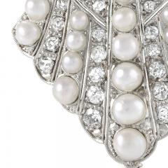 Platinum Diamond and Pearl Art Deco Brooch - 1049210