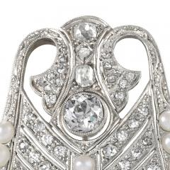 Platinum Diamond and Pearl Art Deco Brooch - 1049211