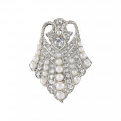 Platinum Diamond and Pearl Art Deco Brooch - 1050860