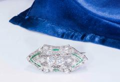 Platinum French Art Deco 4 Ct French Cut Emerald Diamond Set Brooch Pin Pendant - 1130381