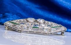 Platinum French Art Deco 4 Ct French Cut Emerald Diamond Set Brooch Pin Pendant - 1130382