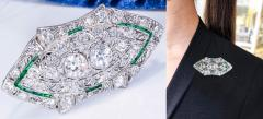 Platinum French Art Deco 4 Ct French Cut Emerald Diamond Set Brooch Pin Pendant - 1130385