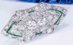 Platinum French Art Deco 4 Ct French Cut Emerald Diamond Set Brooch Pin Pendant - 1130386