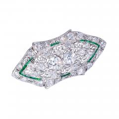 Platinum French Art Deco 4 Ct French Cut Emerald Diamond Set Brooch Pin Pendant - 1133398