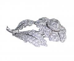 Platinum and Diamond Flower Brooch Circa 1950 - 154356