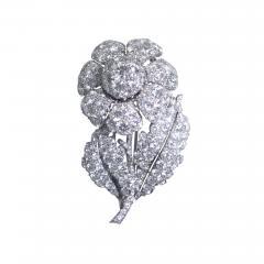 Platinum and Diamond Flower Brooch Circa 1950 - 154760
