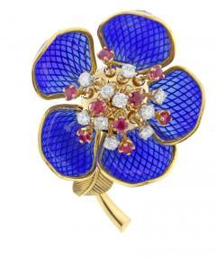 Plique Ajour Blue Enamel Ruby and Diamond En Tremblant Brooch - 1159868