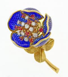 Plique Ajour Blue Enamel Ruby and Diamond En Tremblant Brooch - 1159869