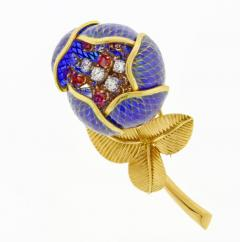 Plique Ajour Blue Enamel Ruby and Diamond En Tremblant Brooch - 1159870