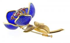 Plique Ajour Blue Enamel Ruby and Diamond En Tremblant Brooch - 1159871