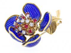 Plique Ajour Blue Enamel Ruby and Diamond En Tremblant Brooch - 1159872