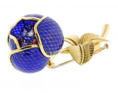 Plique Ajour Blue Enamel Ruby and Diamond En Tremblant Brooch - 1159874