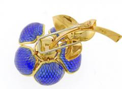 Plique Ajour Blue Enamel Ruby and Diamond En Tremblant Brooch - 1159875