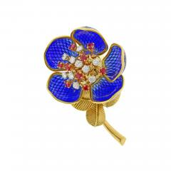 Plique Ajour Blue Enamel Ruby and Diamond En Tremblant Brooch - 1159956