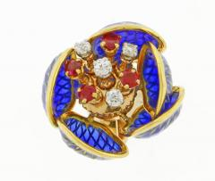 Plique Ajour Blue Enamel Ruby and Diamond en Tremblant Earrings - 1159879