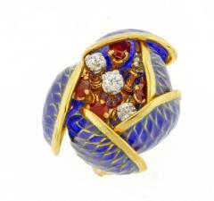 Plique Ajour Blue Enamel Ruby and Diamond en Tremblant Earrings - 1159880