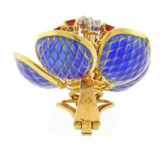 Plique Ajour Blue Enamel Ruby and Diamond en Tremblant Earrings - 1159881