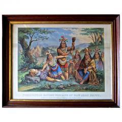 Pocahontas and John Smith Chromo Lithograph Dated 1870 Rare  - 77495