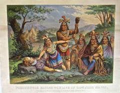 Pocahontas and John Smith Chromo Lithograph Dated 1870 Rare  - 77496