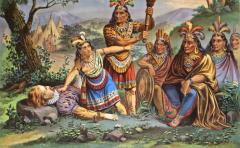 Pocahontas and John Smith Chromo Lithograph Dated 1870 Rare  - 77497