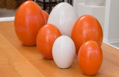 Pol Chambost Set of 8 Ceramic Egg Sculptures - 573690