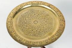 Polished Moroccan Brass Tray Side Table on Spider Leg 1950 - 1302565