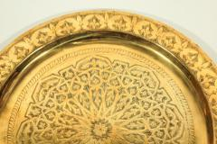Polished Moroccan Brass Tray Side Table on Spider Leg 1950 - 1302579
