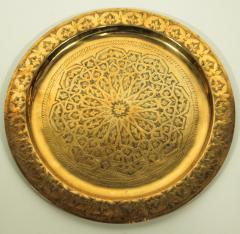 Polished Moroccan Brass Tray Side Table on Spider Leg 1950 - 1302582