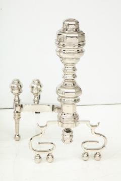 Polished Nickel Engine Turned Andirons - 906412