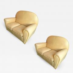 Poltrona Frau Pair of Vanity Fair Leather Sofa by Poltrona Frau Italy 1980s - 1224479