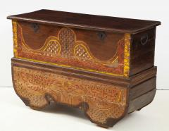 Polychrome Indian Carved Storage Chest Console - 1502505