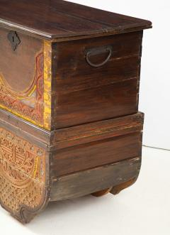 Polychrome Indian Carved Storage Chest Console - 1502507