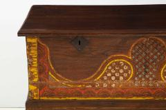 Polychrome Indian Carved Storage Chest Console - 1502509