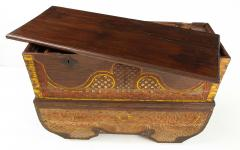 Polychrome Indian Carved Storage Chest Console - 1502514