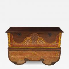 Polychrome Indian Carved Storage Chest Console - 1503294