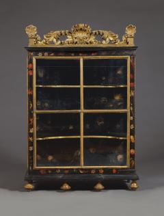 Polychrome Parcel Gilt Hanging Wall Cabinet With Floral Exotic Bird Decoration - 2039383