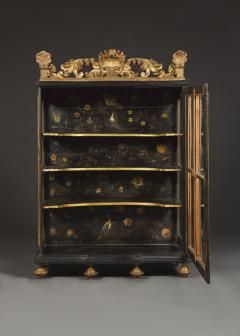 Polychrome Parcel Gilt Hanging Wall Cabinet With Floral Exotic Bird Decoration - 2039385