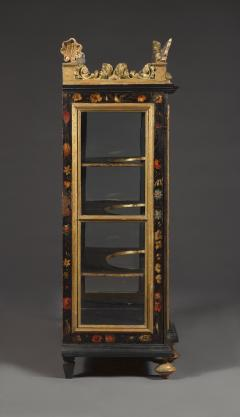 Polychrome Parcel Gilt Hanging Wall Cabinet With Floral Exotic Bird Decoration - 2039386