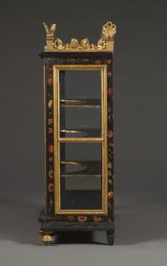 Polychrome Parcel Gilt Hanging Wall Cabinet With Floral Exotic Bird Decoration - 2039387